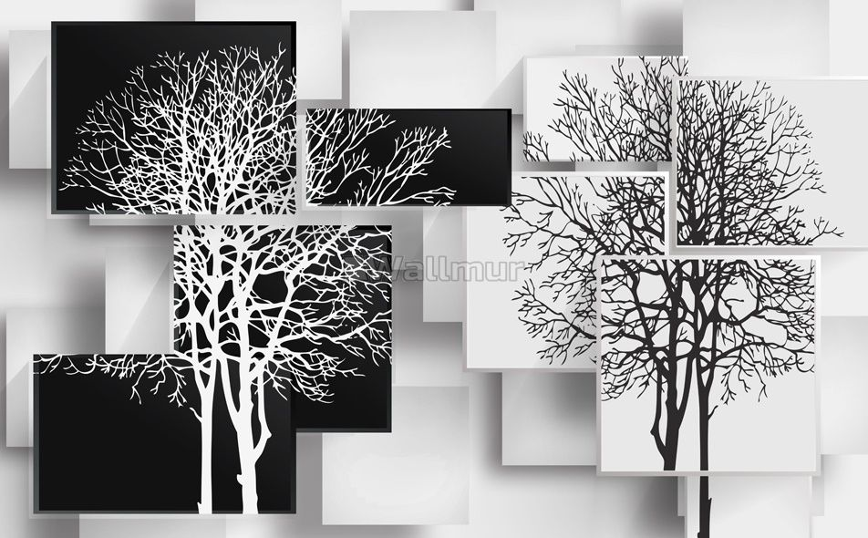 Black White Tree With Abstract Cube Wallpaper Mural