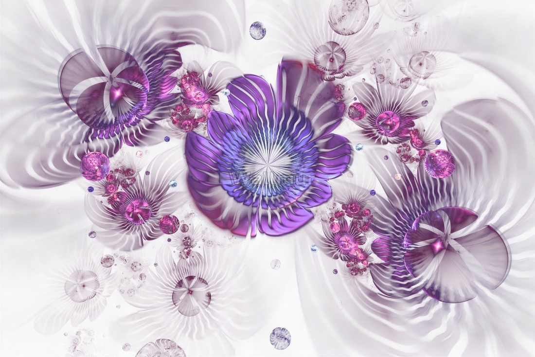 3d Look Violet Floral With Abstract Fractal Wallpaper Mural Wallmur