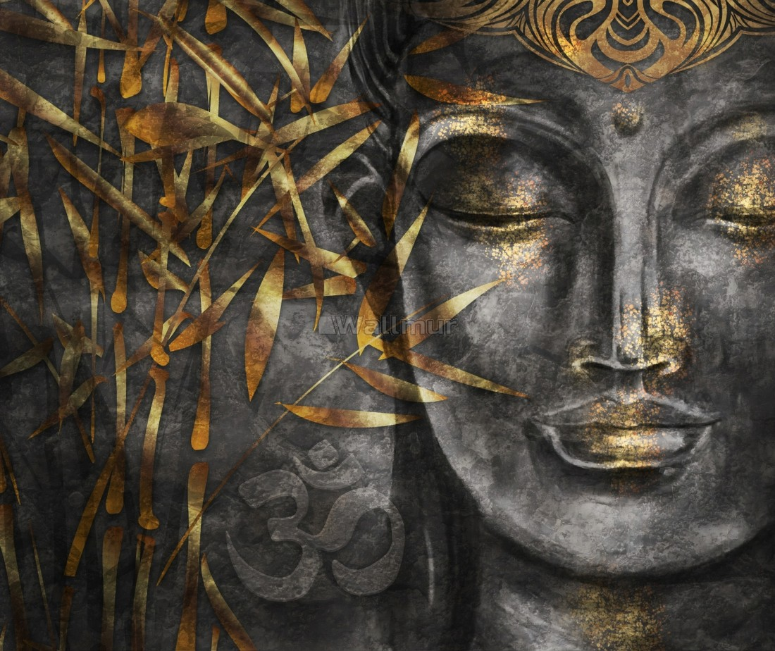 3D Look Concrete Buddha And Gold Style Leaves Wallpaper