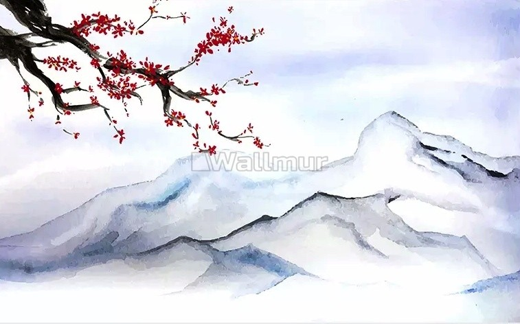 Snowy Mountainscape With Cherry Blossom Wallpaper Mural Wallmur