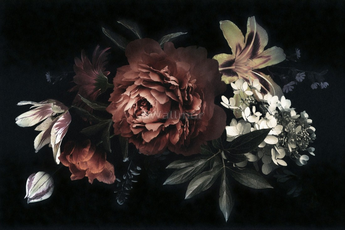 Dark Floral Bouqet With Red Peony And Lily Wallpaper Mural Wallmur