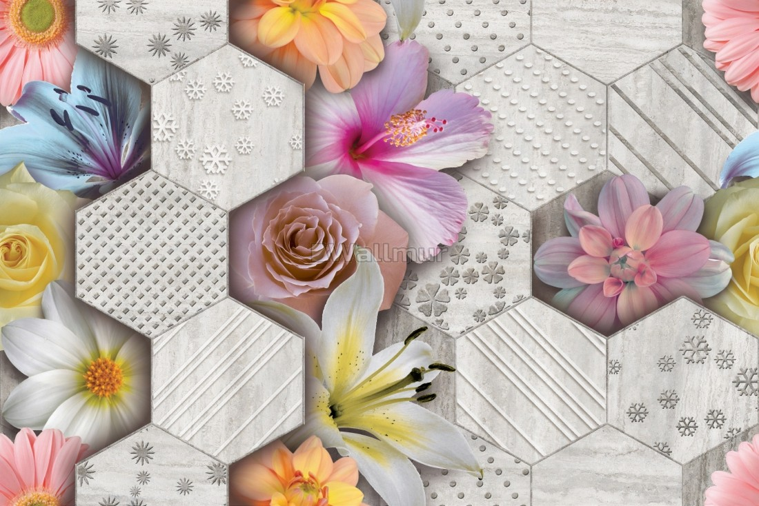 Hexagon Pattern With Colorful Floral Wallpaper Mural Wallmur