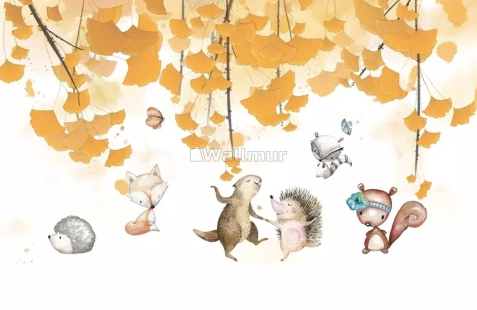 Autumn Leaves With Cartoon Animals Wallpaper Mural Wallmur