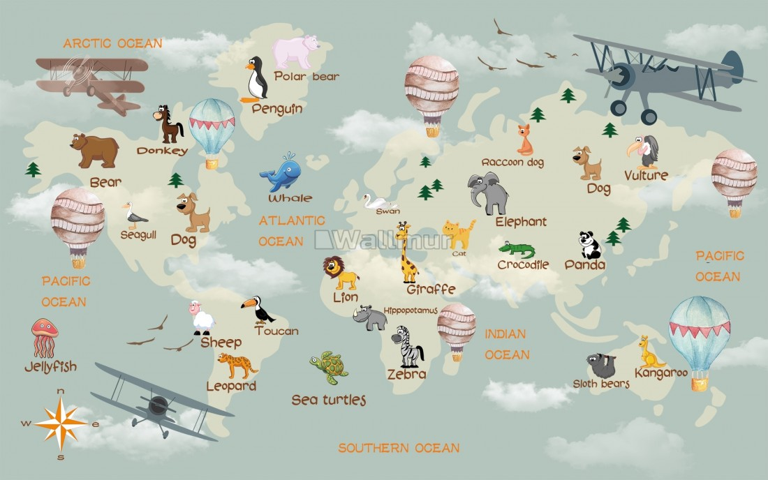 3D Look Kids World Map with Animals Wallpaper Mural