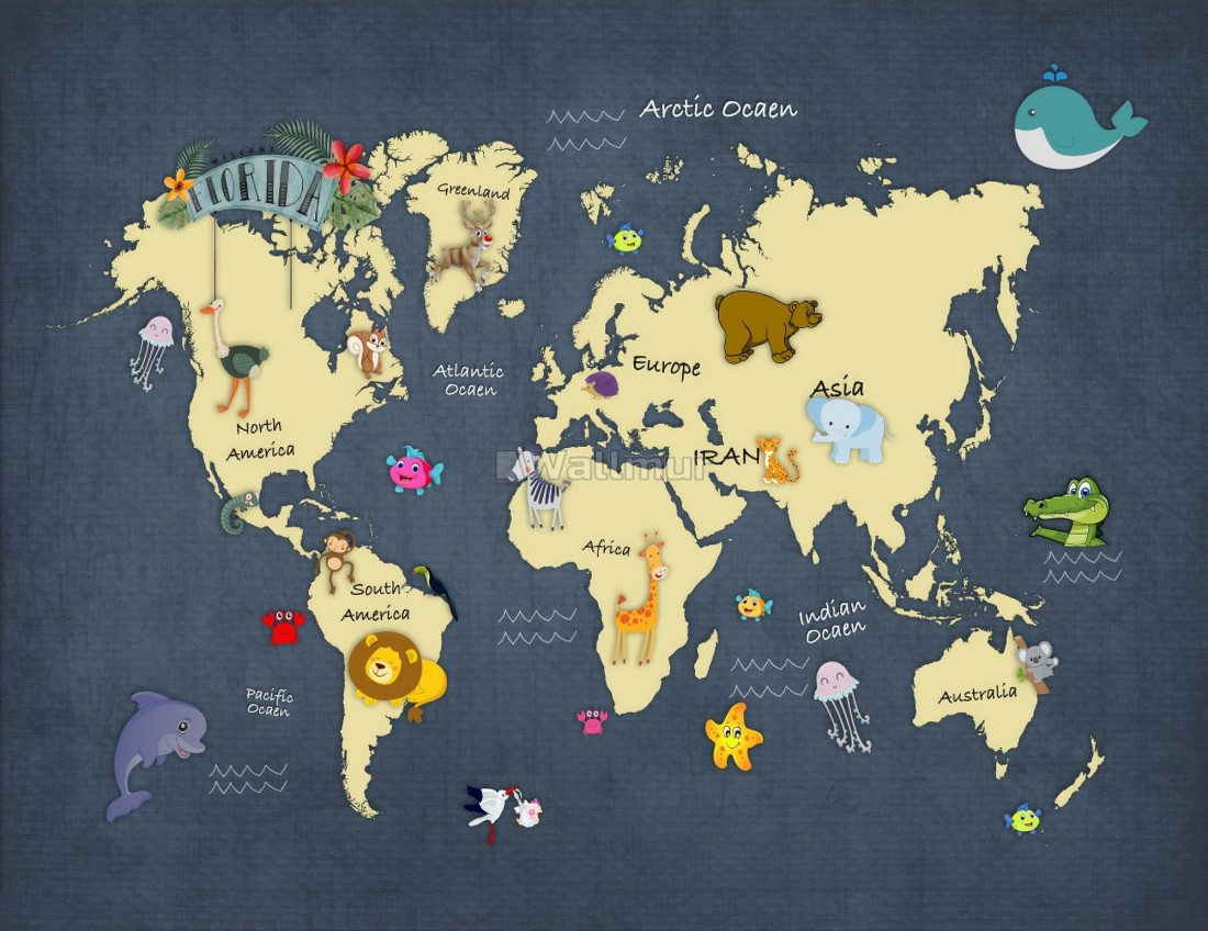 kids world maps with cute animals wallpaper mural wallmur kids world maps with cute animals wallpaper mural