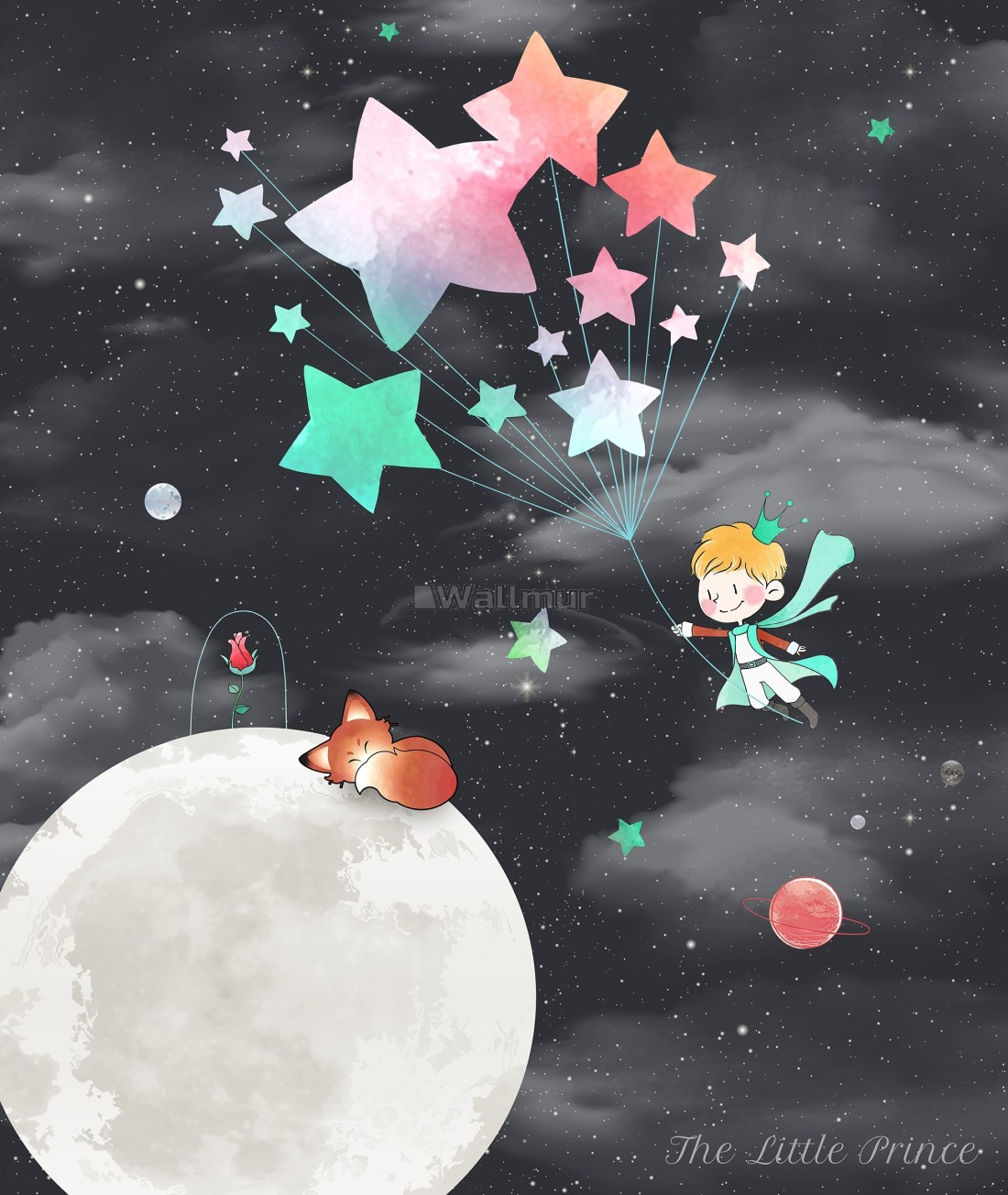 Little Prince And Moon With Watercolor Stars Wallpaper Mural Wallmur