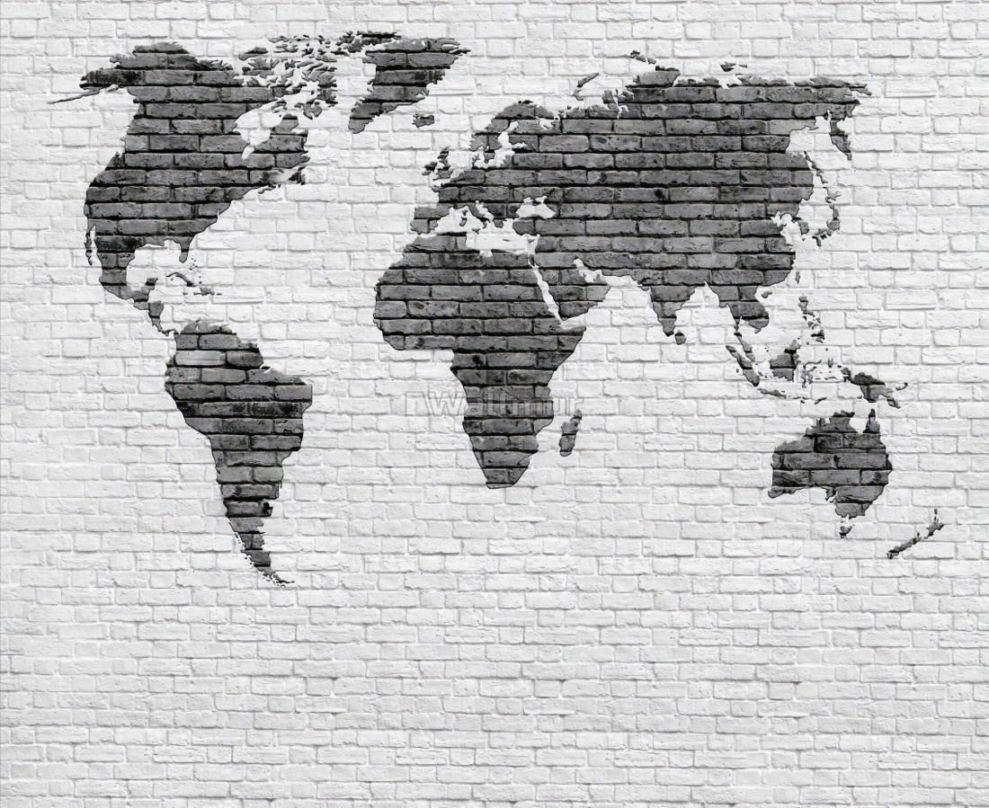 Black White Brick World Maps Wallpaper Mural Wallmur