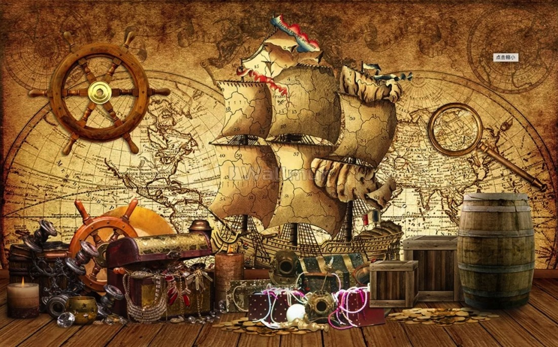 Sail Boat And Antique World Map Wallpaper Mural
