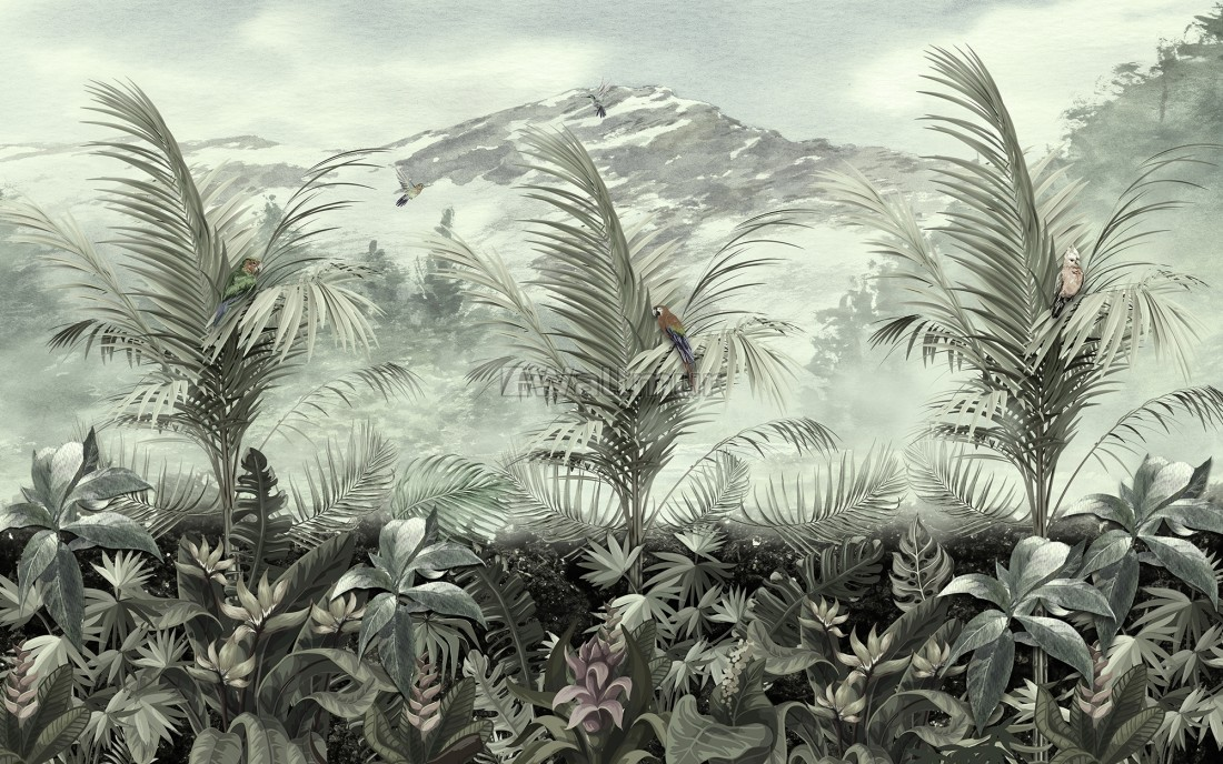 Vintage Tropical Forest With Mountain Landscape Wallpaper Mural
