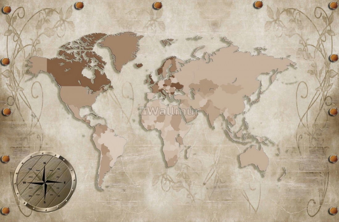 Vintage Brown Parchment World Map with Old Compass Wallpaper Mural