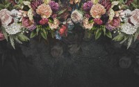 Dark Vine Floral and Peony Blossom Wallpaper Mural