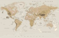 Kids Brown Political World Map with Animals Wallpaper Mural