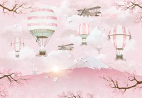 Hot Air Balloon with Pink Mountain Landscape Wallpaper Mural