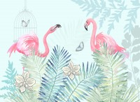 Vintage Pink Flamingo with Tropical Leaves Wallpaper Mural