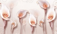 3D Embossed Look Soft Calla Lily Floral Wallpaper Mural
