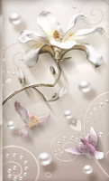 3D Look Florals with Pearls Lux Flowers Wallpaper Mural