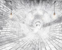 3D Look White Brick Tunnel with Lighting Wallpaper Mural