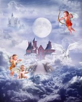 Cartoon Angel with Castle Wallpaper Mural