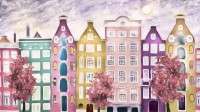 Dutch Style Colorful Houses and Red Trees Wallpaper Mural for Kids