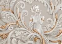 Gold Effect Sculpture Embossed Style Beautiful Lady Wallpaper Mural