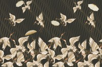 Gold Style Vintage Asian Crane Birds Wallpaper Mural
