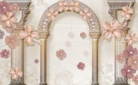 Pink Diamond Floral with Byzantine Column Wallpaper Mural