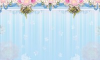 Pink Florals with Blue Vertical Stripes Wallpaper Mural