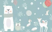 Cartoon Bear and Animal Friends with Snowflake Wallpaper Mural