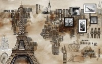 Eiffel Tower City Typography Wallpaper Mural
