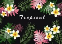 Dark Tropical Leaf and Magnolia Floral Wallpaper Mural