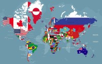 Country Flags on World Map Wallpaper Mural