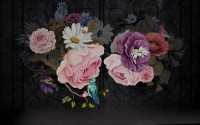 Dark Floral with Colorful Peony Wallpaper Mural