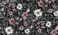 Dark Floral with White Daisy Wallpaper Mural