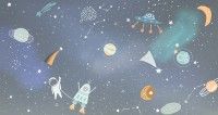 Cartoon Space with Colorful Planets and Little Stars Wallpaper Mural