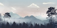 Kids Mountain Landscape with Snow Wallpaper Mural