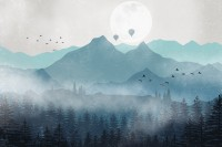 Misty Mountain Landscape with Moon Wallpaper Mural