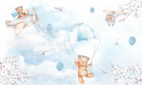 Cute Bear Flying with Paper Planes Wallpaper Mural