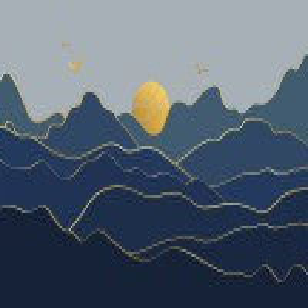 Gold Landscape Sunrise Sunset Wallpaper Mural