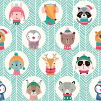 Kids Cute Winter Animals Pattern with Lines Wallpaper Mural