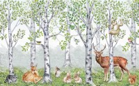 Kids Woodland Animals in the Forest Wallpaper Mural