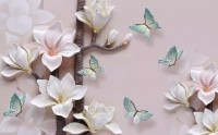 3D Look Magnolia Blossom and Blue Butterflies Wallpaper Mural