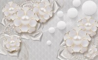 3D Look White Pearl Flower Wallpaper Mural
