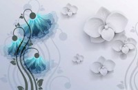 Blue Orchid Floral Wallpaper Mural