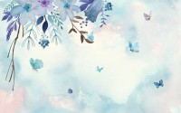 Blue Purple Floral with Little Butterfly Wallpaper Mural