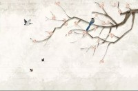 Colorful Birds and Cherry Blossom Tree Wallpaper Mural
