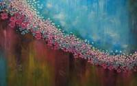 Oil Paint Abstract Blossom Wallpaper Mural