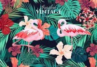Pink Flamingo with Tropical Leaf Wallpaper Mural