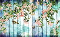 Pink Floral with Wood Wall Wallpaper Mural