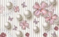 Pink Jewelry Floral Wallpaper Mural