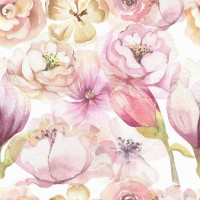 Pink Peony Floral Bouqet Pattern Wallpaper Mural